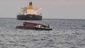 Karataş açıklarında gemiyle çarpışan tekne alabora oldu