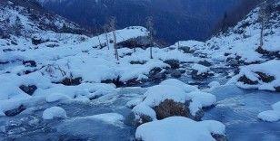 Artvin'in Macahel Karçal dağları eteklerinde bulunan göller ve akarsular buz tuttu