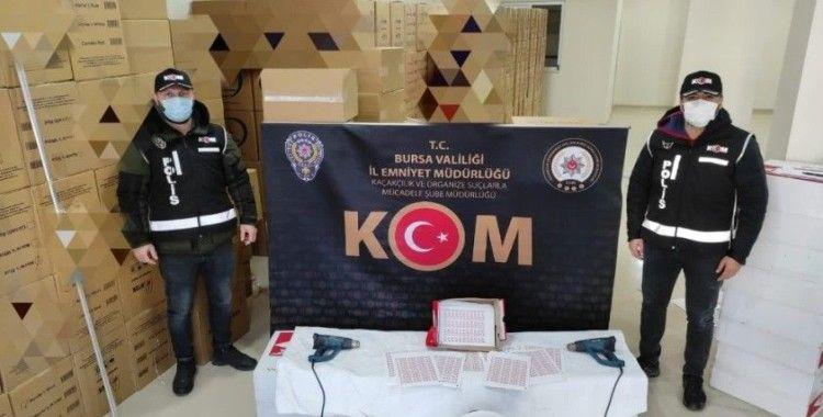 Bursa'da 1 milyon liralık kaçak makaron ele geçirildi
