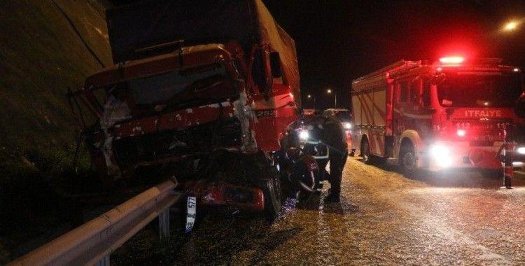 TEM'de kamyon önünde ilerleyen tıra çarptı