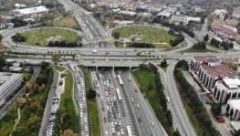 Trafik yoğunluğu havadan görüntülendi
