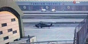 Havalimanındaki helikopter kaza anı kamerada
