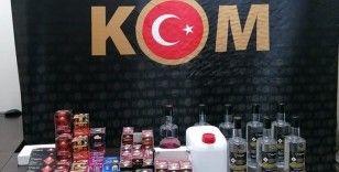 Manavgat'ta sahte içki yapımında kullanılan malzemeler ele geçirildi