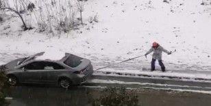 Kimi sokak ortasında snowboard yaptı, kimi traktörle drift