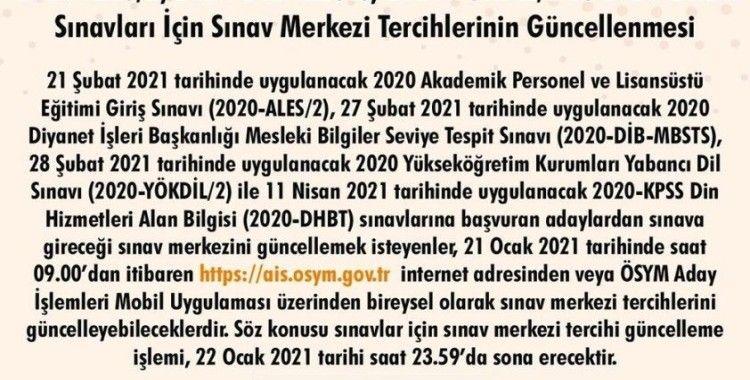 ÖSYM Başkanı Aygün'den sınav merkezi tercihleri güncelleme duyurusu