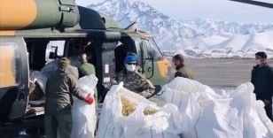 Mehmetçik Hakkari'de Sümbül Dağı'ndaki dağ keçilerine havadan yem bıraktı