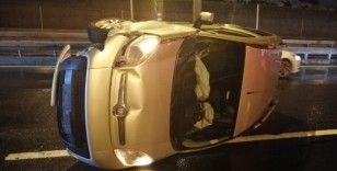 Alkollü sürücünün aracı Haliç Köprüsü'nde takla attı