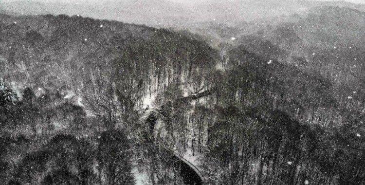 Karlar altındaki Belgrad Ormanı'nda masalsı görüntüler