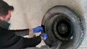 Otomobil lastiğinden bir kilo kokain çıktı