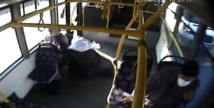 Ani fren yapan otobüste savrulup yere düşen yaşlı kadın yaralandı