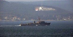 Rus savaş gemisi 'Valentin Pikul' Çanakkale Boğazı'ndan geçti