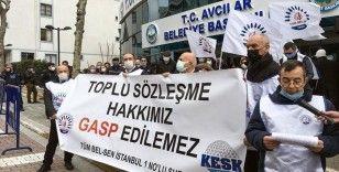 Avcılar'da belediye çalışanlarından toplu sözleşme eylemi