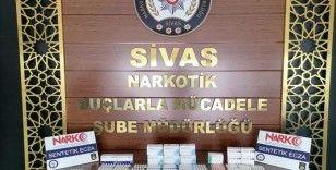 Sivas'ta 686 adet sentetik ecza hap ele geçirildi