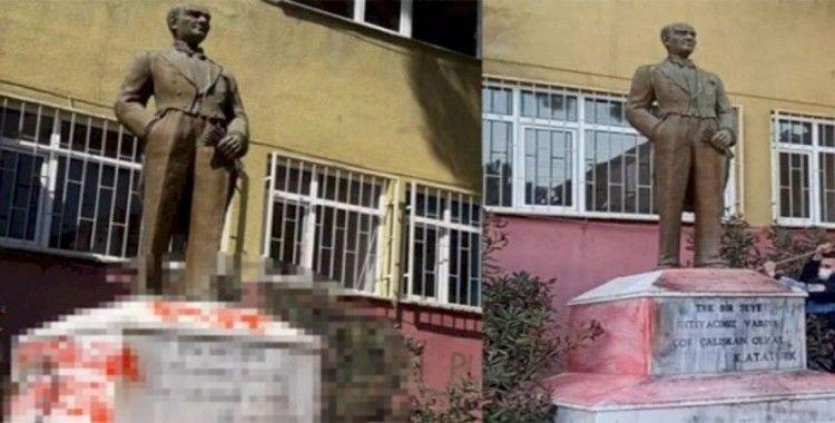 Atatürk heykeline çirkin saldırı