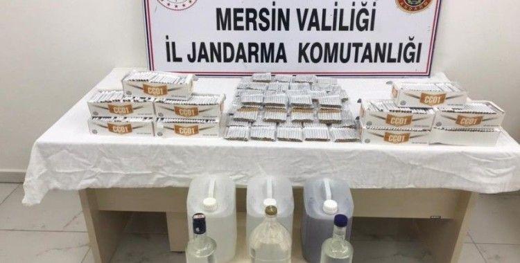 Mersin'de sahte içki ve gümrük kaçağı makaron ele geçirildi