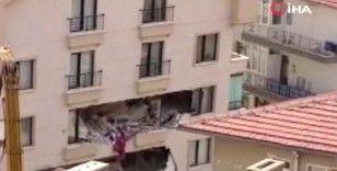 İstinat duvarı yıkılan binada yıkım çalışmaları başladı