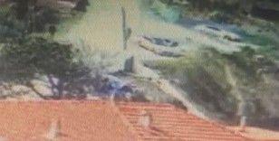 Sarıyer'de aracın 70 metreden düşme anı kamerada