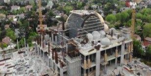 İnşaatı devam eden Levent Cami drone ile havadan görüntülendi