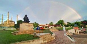 Edirne'de yağmur sonrası gökkuşağı sürprizi