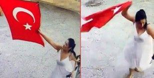 Adana'da bir kadın Türk bayrağını koparıp çöpe attı