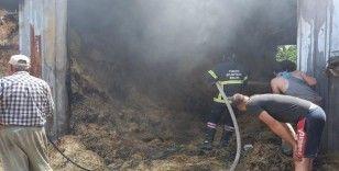 Besihanede çıkan yangında 800'e yakın saman balyası yandı