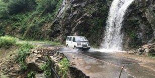 Giresun'un Güce ilçesinde etkili olan yağış hasara yol açtı