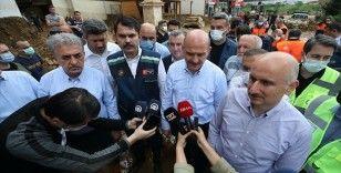 Bakanlar Soylu, Kurum ve Karaismailoğlu Rize'de afet bölgesindeki incelemelerini sürdürdü