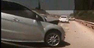 Çeşme Otoyolu'ndaki zincirleme kaza kamerada