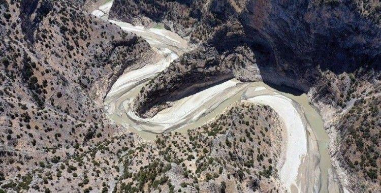 Aydın'daki Arapapıştı Kanyonundaki sular kuraklık nedeniyle çekildi