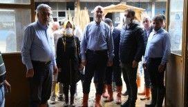 İçişleri Bakanı Süleyman Soylu selden etkilenen Artvin'in Murgul ilçesinde incelemelerde bulundu