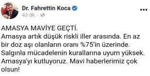 Sağlık Bakanı Koca: 'Amasya'yı kutluyoruz'