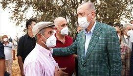 Cumhurbaşkanı Erdoğan, Manavgat'ta orman yangınından etkilenen vatandaşlarla bir araya geldi