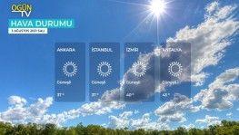 Yarın kara ve denizlerimizde hava nasıl olacak? 3 Ağustos 2021 Salı