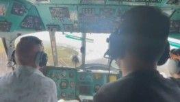 Helikopter pilotunun sevinç anı kamerada