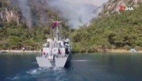 Askeri çıkarma gemileri de yangınlarda görev aldı
