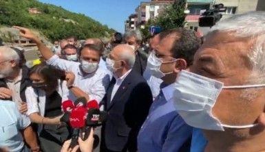 Kemal Kılıçdaroğlu ve Ekrem İmamoğlu sel bölgesinde incelemede bulundu