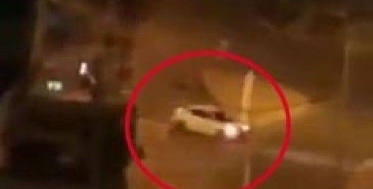 Pendik'te trafik magandasının drift yaptığı anlar kamerada