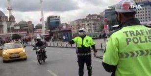 Taksim'de trafik denetimi: Motokuryelere ceza yağdı