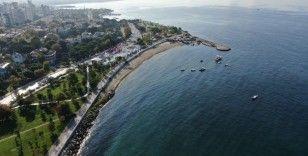 Müsilajdan arındırılan Caddebostan ve Kartal sahilleri havadan görüntülendi