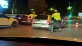 Ankara'da dur ihtarına uymayan sürücü polis ekiplerinin üzerine sürerek kaçtı