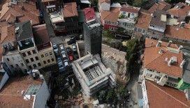 Üsküdar'da 460 yıllık Gülfem Hatun Camii'nin restorasyon çalışması havadan görüntülendi
