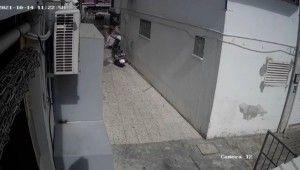 Kırgız gencin 7'nci kattan düşüşü güvenlik kamerasında