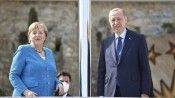 Almanya Başbakanı Merkel, Cumhurbaşkanı Erdoğan ile görüşme için Huber Köşkü'ne geldi