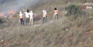 İsrailli yerleşimciler, Filistinlilerin arazilerini ateşe verdi
