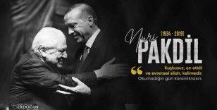Cumhurbaşkanı Erdoğan edebiyatçı Nuri Pakdil'i andı